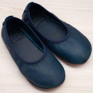 pololo-nos-barfuss-strassenschuh-ballerina-tpr-sohle-blau-frontal